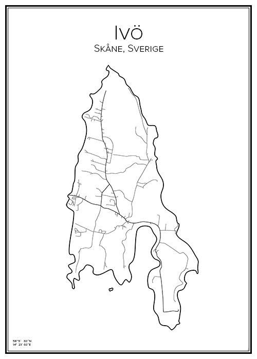 Karta Skane Tavla.Ivo City Prints City Maps Travel Illustration Och Sweden