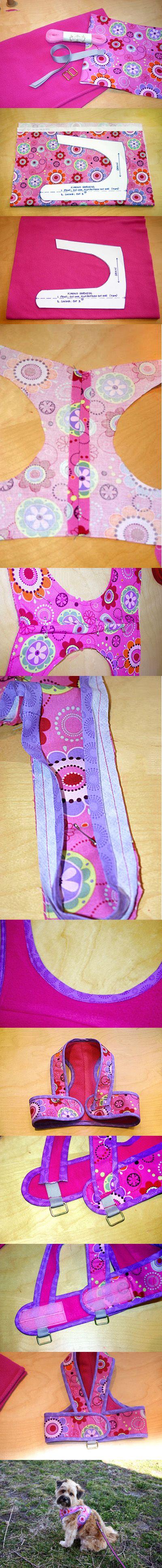 Coleira peitoral de tecido. Lindo e confortável