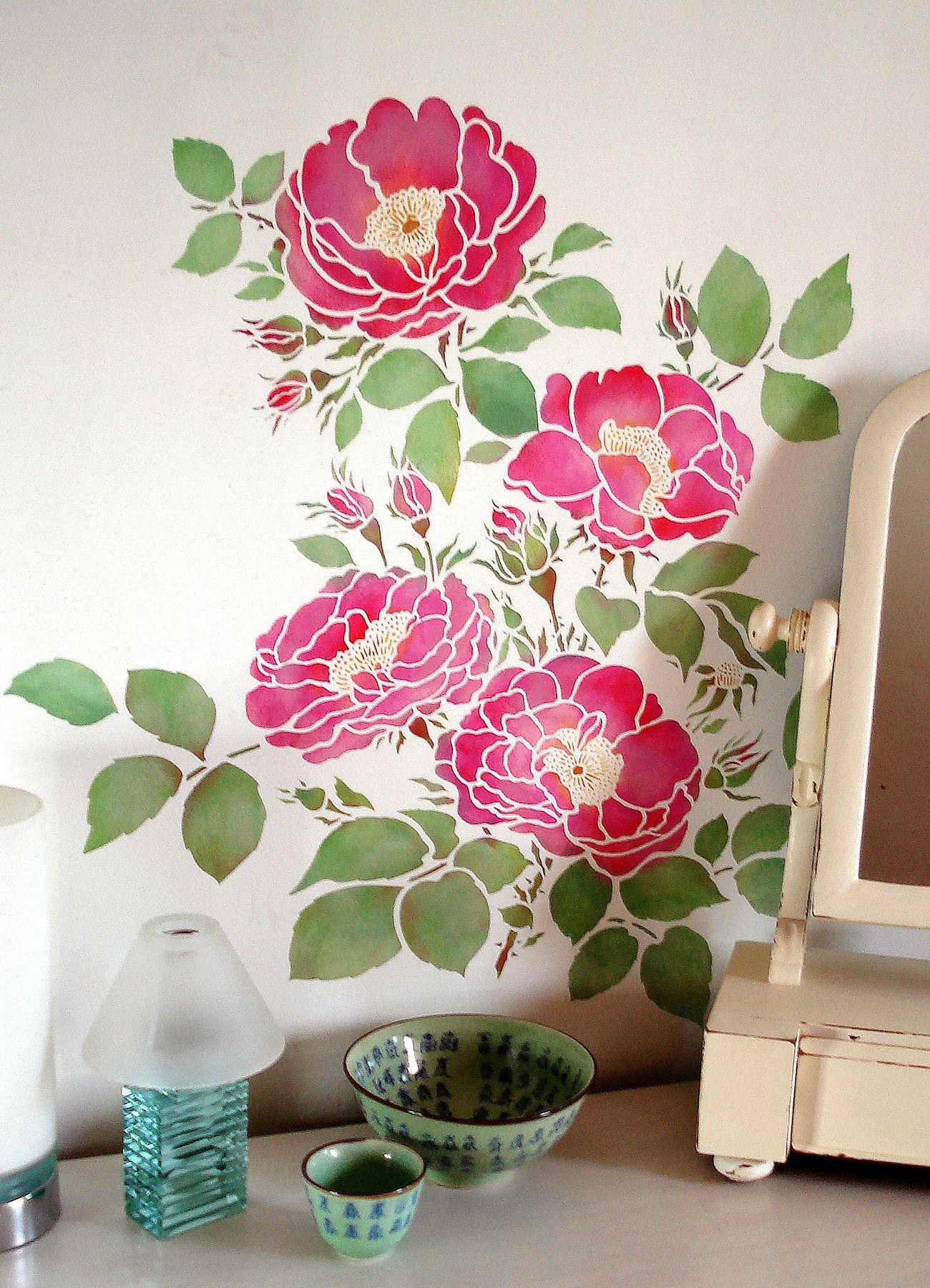 Cottage rose stencil rose stencil large wall stencil