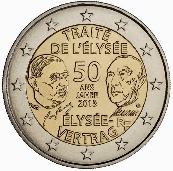 2 Euro Commemorative Coins France 2013, 50 Years of Franco-German Friendship (Élysée Treaty)