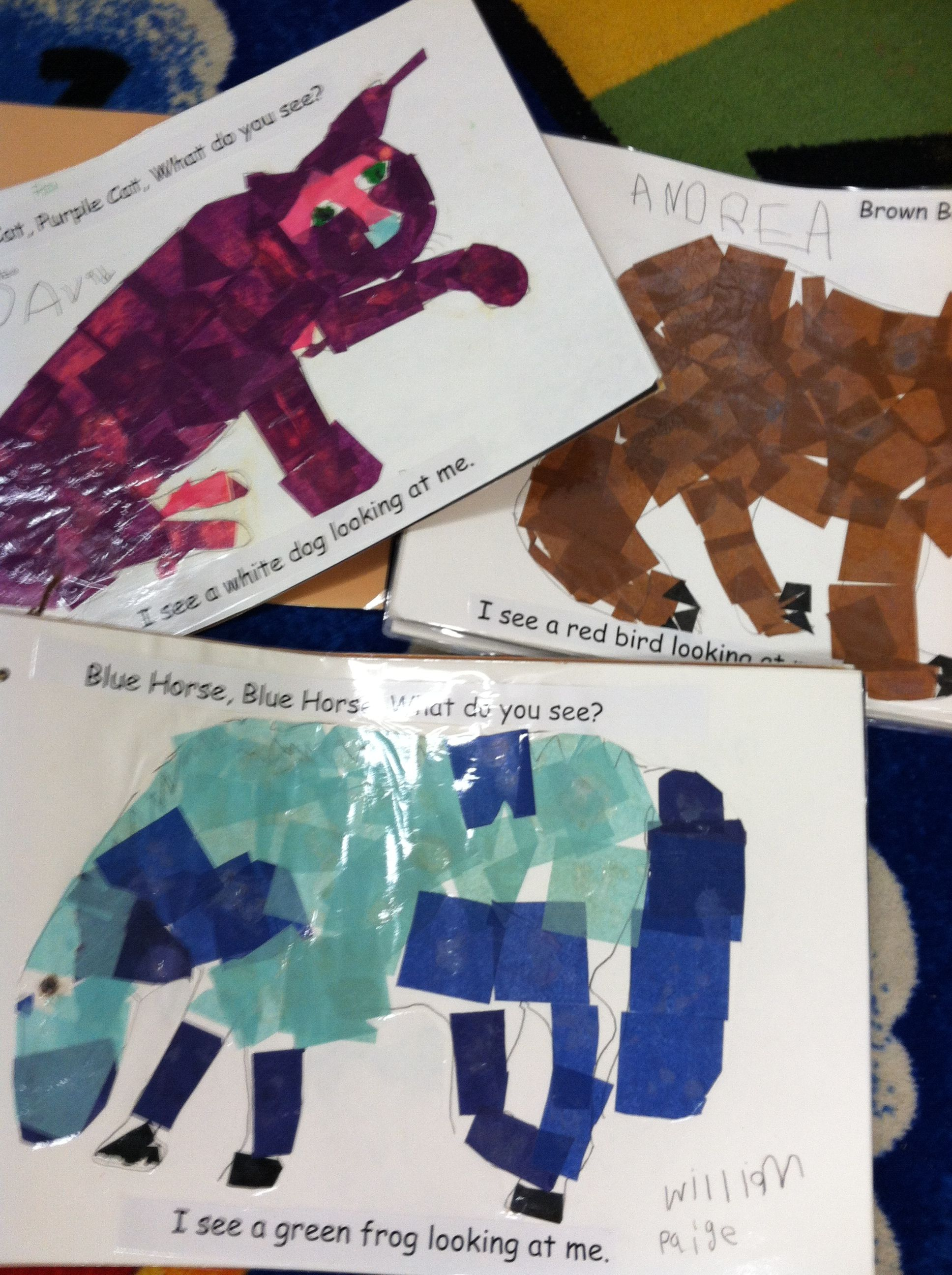 Students use tissue to mimic hues in illustrations in Brown Bear ...