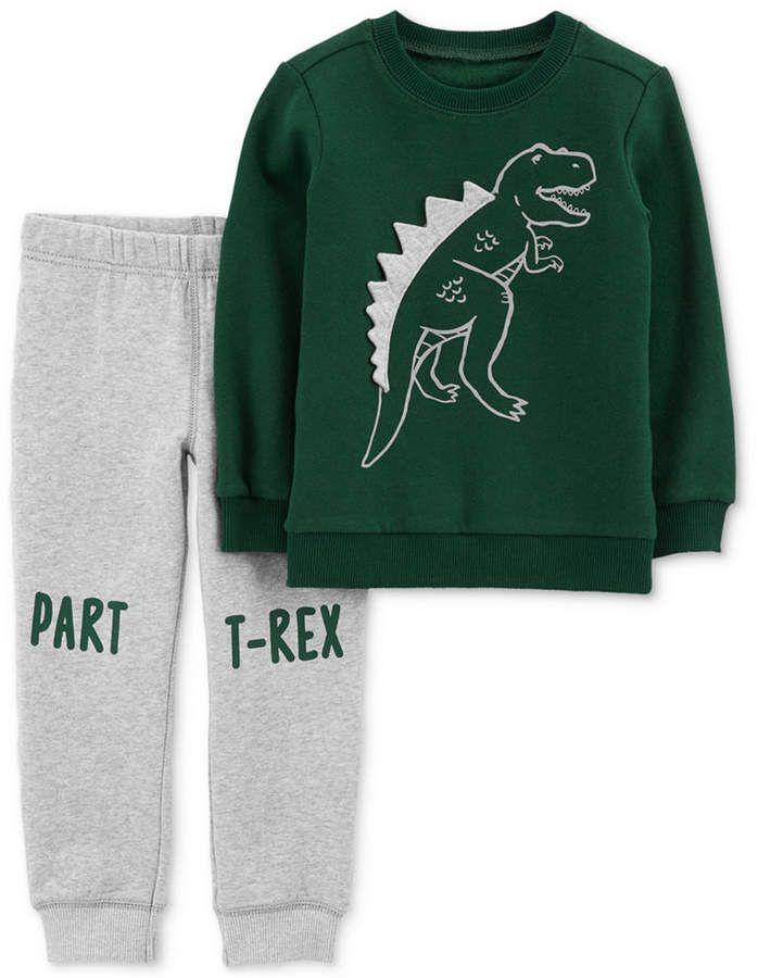 0307f47987f5 Carter s Baby Boys 2-Pc. Dinosaur Sweatshirt   Pants Set - Green ...