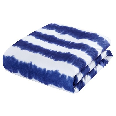 Lucas Striped Shibori Tie-Dye Printed Comforter Set 7 Piece (Twin XL) Navy (Blue) -Chic Home Design