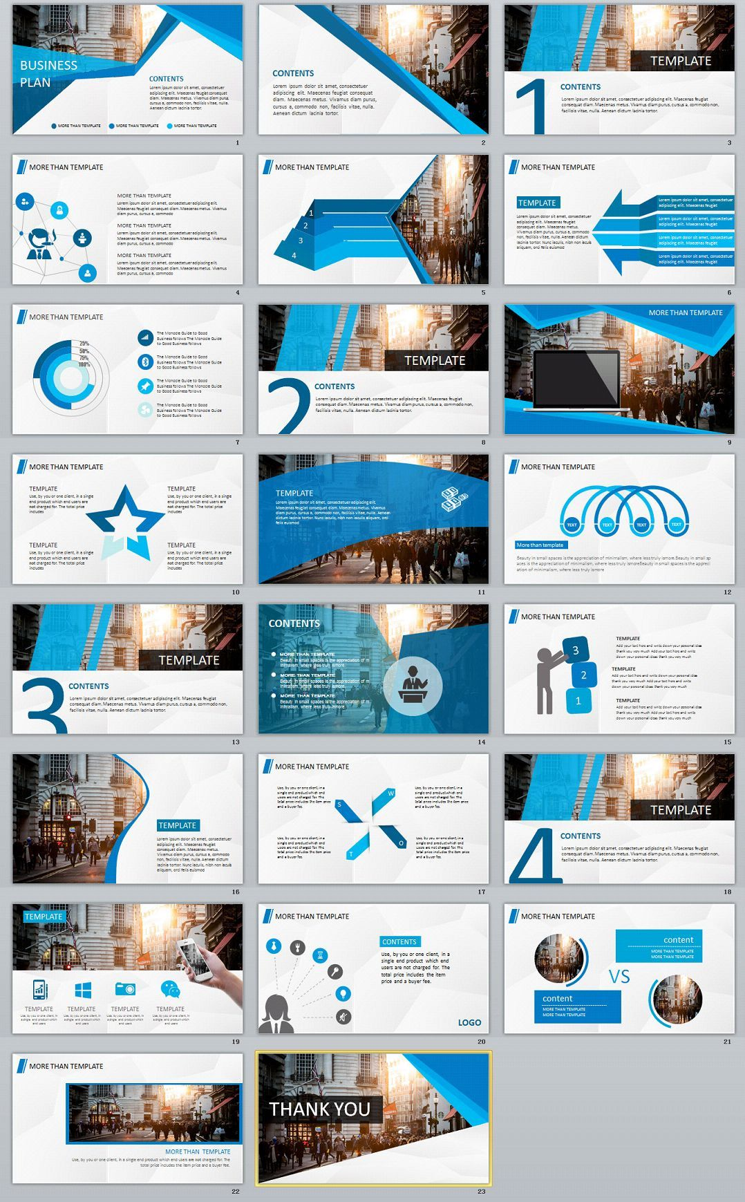 23 Blue Business Plan Powerpoint Template Powerpoint Design