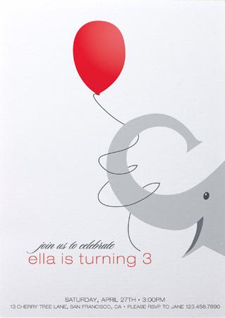 Elephant Birthday Party Invite Kids