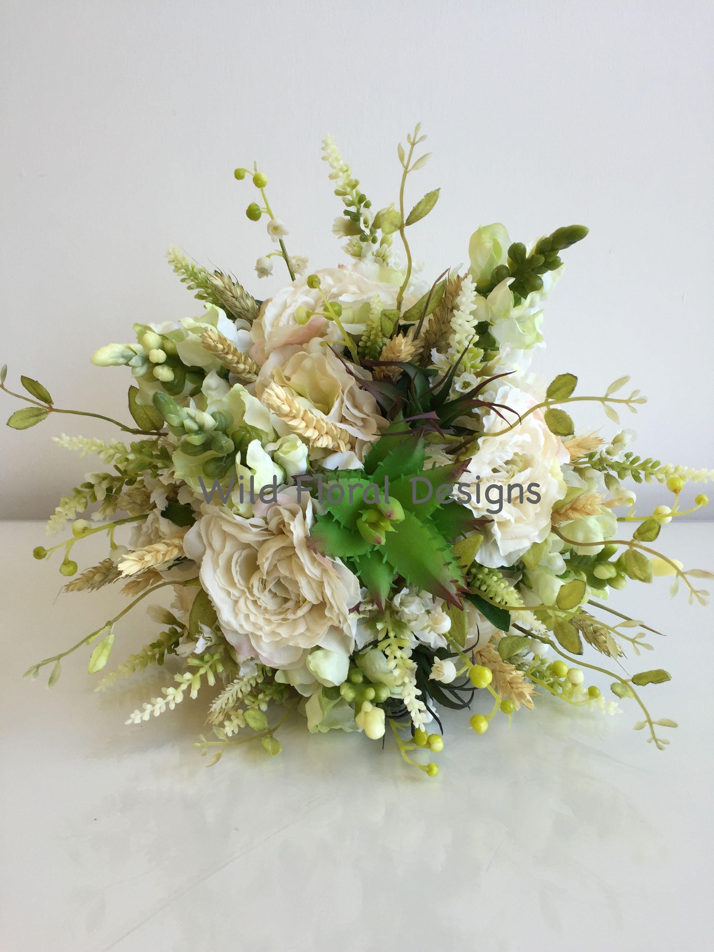 Rustic silk, artificial bridal bouquet, succulents, corn