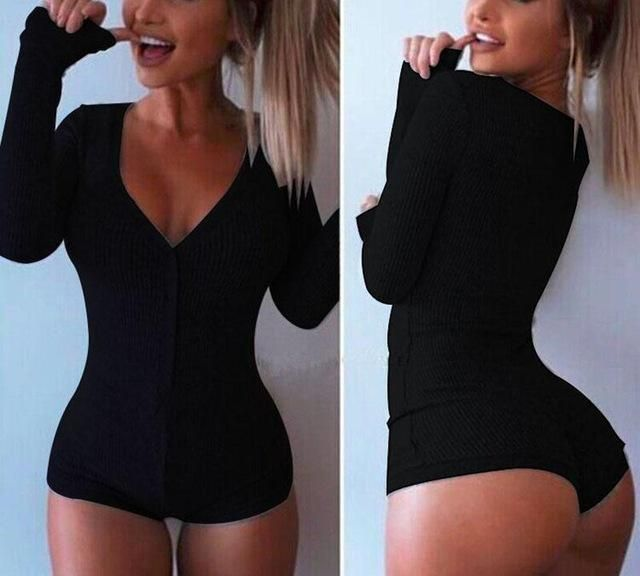 Deep V-neck Long Sleeve Button Up Bodysuit