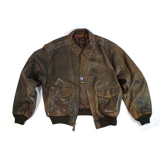 e553c877d63 Vintage Avirex A2 Leather Flight Bomber Jacket by othernessdesign