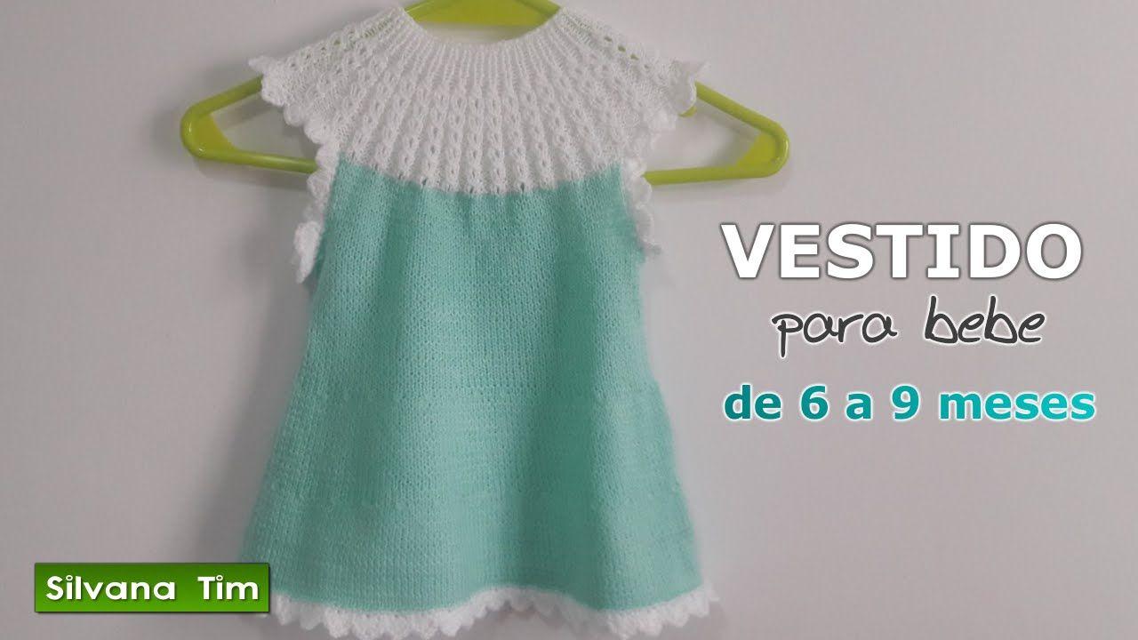 VESTIDO para niña (bebé) con canesú. Tejido con dos agujas y crochet   444 d456aabbc107
