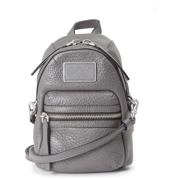 MARC BY MARC JACOBS Domo backpack-style leather shoulder bag featuring polyvore fashion bags handbags shoulder bags grey leather rucksack backpack shoulder bag grey leather backpack grey backpack leather purse