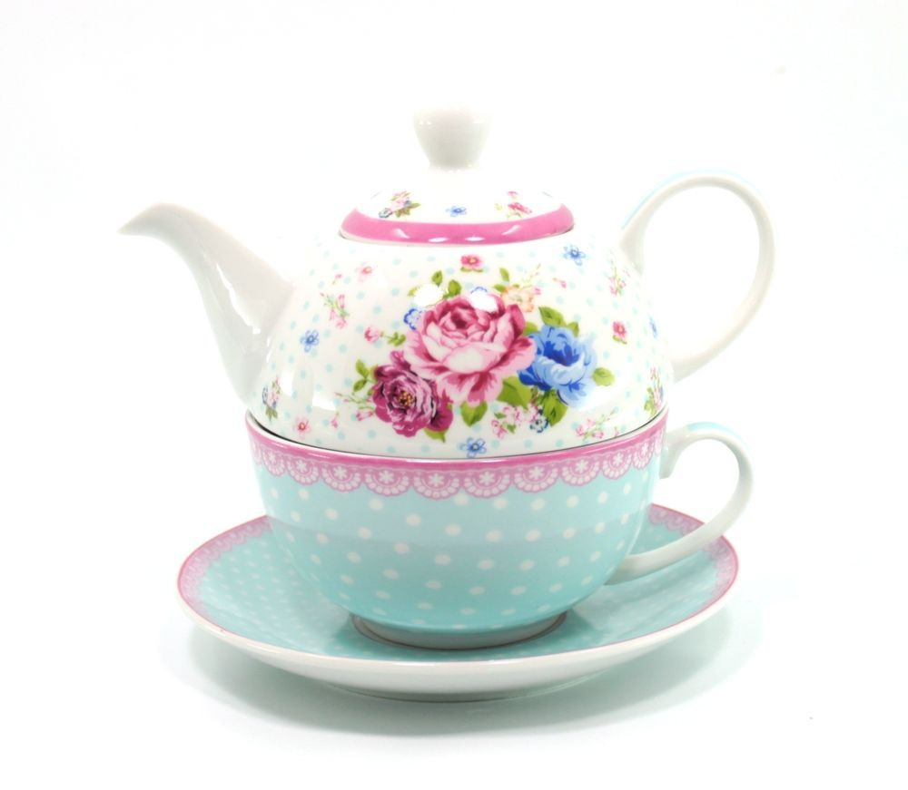 Teekanne Porzellan 3tlg tea for one dekor flower blue teetasse teekanne porzellan