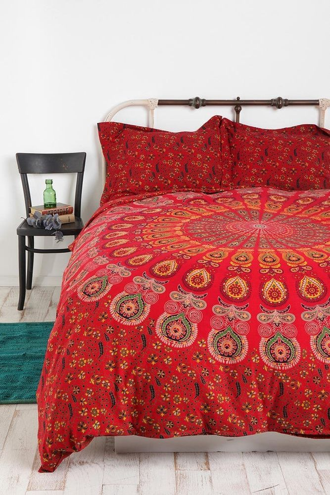 Urban Outfitters Tapestry Medallion Duvet Cover Twin XL Bedding   Red