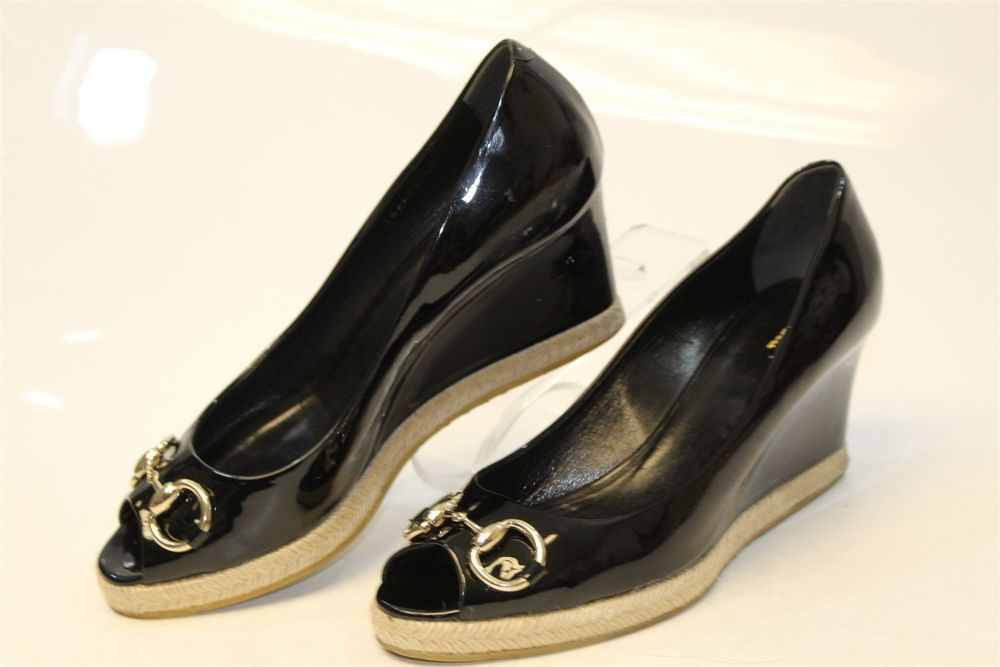 Gucci Italy Made Womens 40 10 Patent Leather Peep Toe