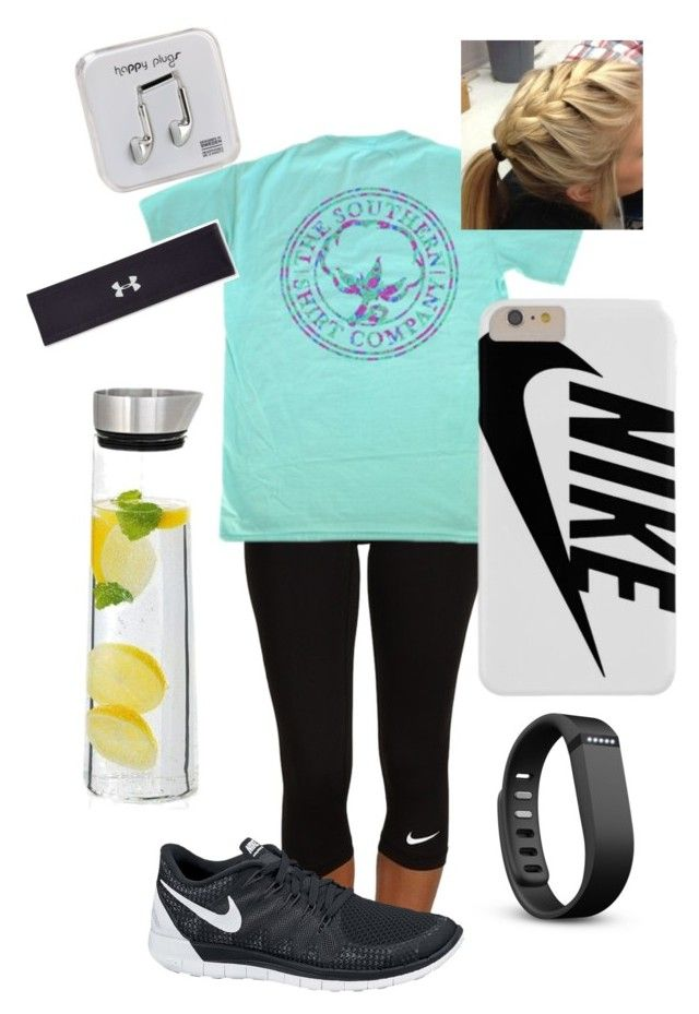 """""""running outfit 4"""" by lucyyc ❤ liked on Polyvore featuring NIKE, blomus, Happy Plugs, Under Armour, Fitbit, women's clothing, women's fashion, women, female and woman"""