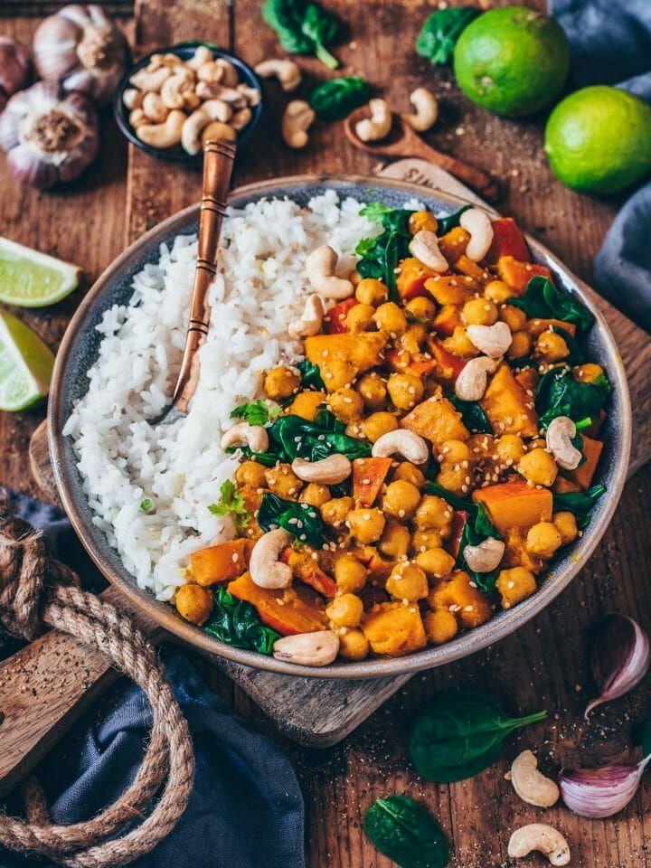 Kürbis-Kichererbsen-Curry (vegan, einfaches Rezept) #vejetaryentarifleri