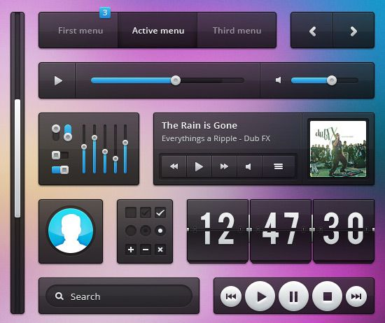 70 Free GUI / UI / UX PSD kits and web elements for download