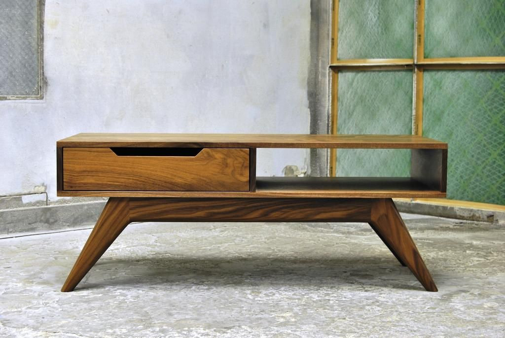 Mid Century Modern Coffee Table With Drawers