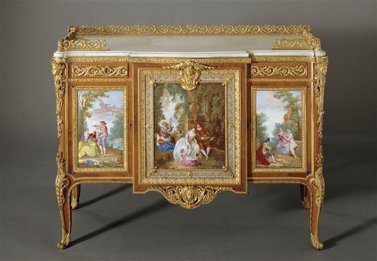 Commode of Madame Du Barry, with plaques of Sèvres Porcelain, that - peinture sur meuble bois