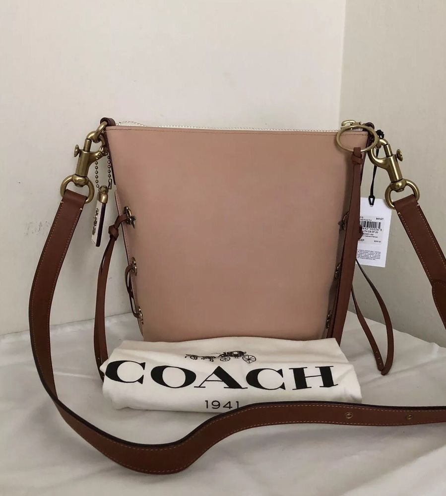 d4ca52cde0 NWT 32915 COACH Leather Tie Shoulder Bag CHALK NUDE
