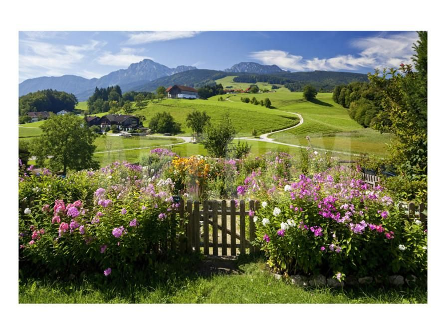 Flower garden at hoeglwoerth monastery upper bavaria