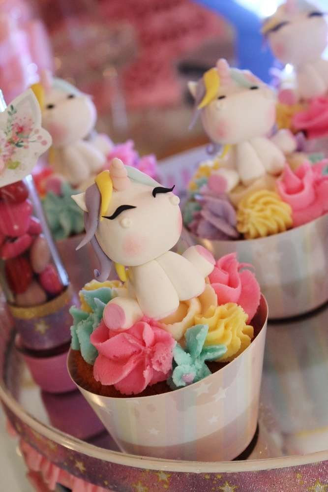 The cupcakes at this Unicorn Birthday Party are soooooo cute!! See more party ideas and share yours at CatchMyParty.com #catchmyparty #cupcakes #unicorn