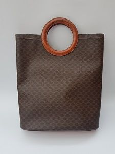 1ecea87ccce05 CÉLINE Bag. Celine Vintage Monogrammed Macadam Brown Round Handles Tote  Shopping Bag . French designer purse.