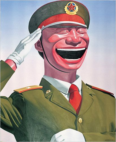 7291332ffae Yue Minjun s signature smile  this painting is meant to parody the art that  was directed by the government during the Cultural Revolution.