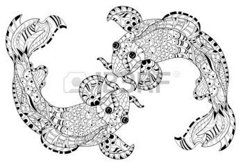 zentangle: Zentangle stylized floral china fish carp doodle. Hand Drawn vector illustration. Koi sketch for tattoo or coloring book.