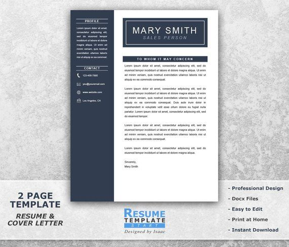 One Page Resume Template Word - Resume Cover Letter Templates - CV
