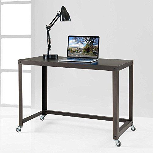 Minimalist Homeoffice Design: Durable Flat Metal BRONZE OfficeDormStudy Desk W Casters