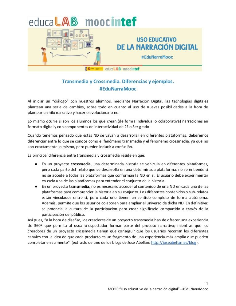 "Documento de apoyo a la unidad 4 del MOOC de @educaINTEF ""Uso educativo de la narración digital"". #EduNarraMooc"