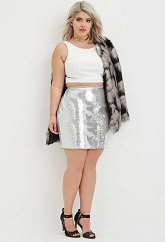 Plus Size Sequined Mini Skirt