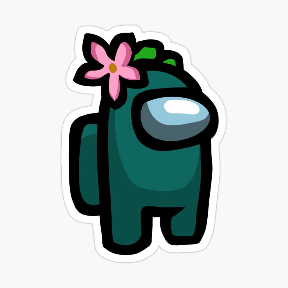 'Among Us Teal with Flower' Sticker by Maddie G