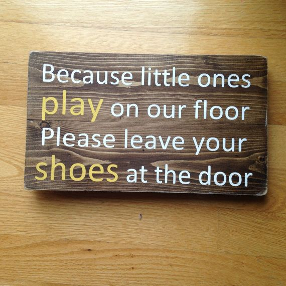 No Shoe Sign Rustic Wood Small