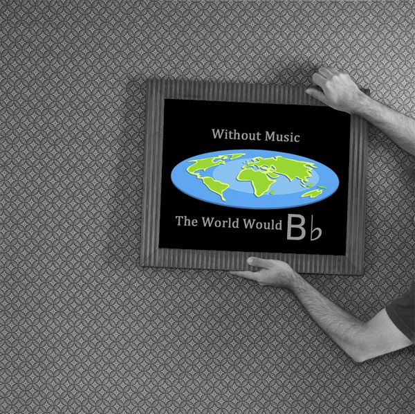"""Without Music the World Would B flat"" / 14×11 Printable Wall Decor for Musicians and Music Lovers // Instant Download"