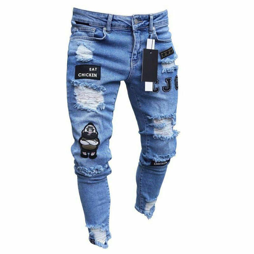 Pantalones Vaqueros Para Hombres Moda Flaco Elastico De Agujero Estampado Casual Unbranded Pantalones Vaqueros Hombre Pantalones Vaqueros Rotos Ropa De Hombre