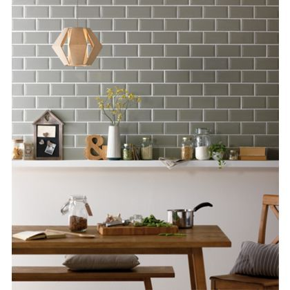 Kitchen Tiles Homebase metro sage wall tile - 200 x 100mm - 25 pack at homebase -- be