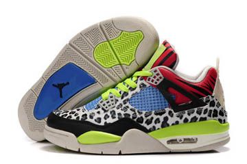 5bfdd7fb3119ef Nike Shoes Jordan Retro 4 Leopard Men Size Black Lime Green White Blue Red