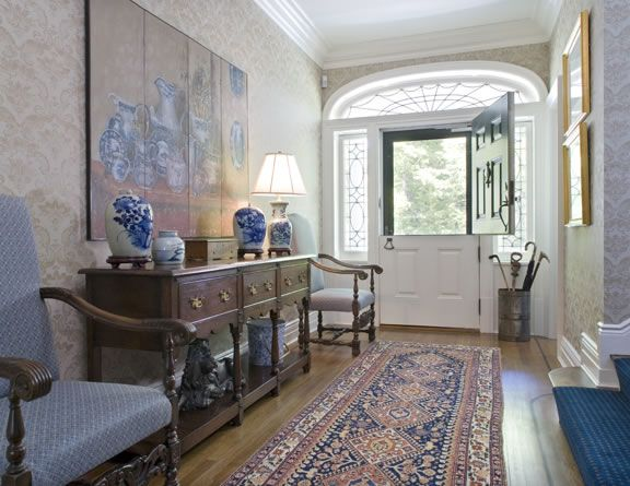 Dutch Door Original To House   Hallway Table, Chairs And Delft Blue Pottery