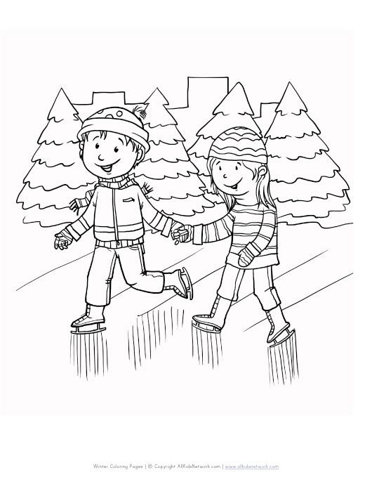 winter ice skating coloring page