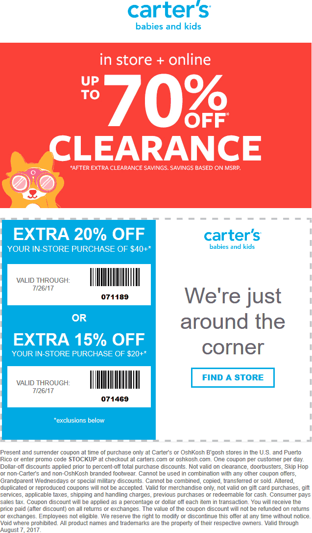 Pinned July 21st Extra 15 20 Off At Carters Or Online Via Promo
