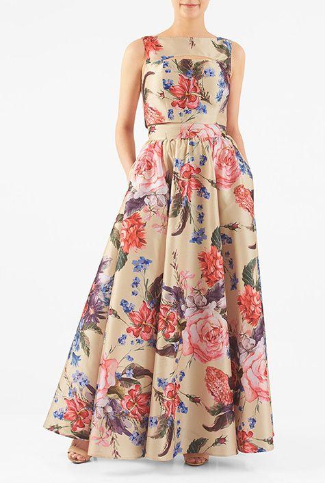 81cd4a79b7b Cutout floral dupioni two-piece maxi dress  eShakti