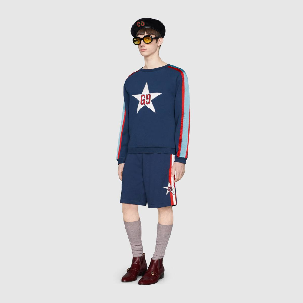 Shop The Sweatshirt With Gg Star By Gucci Crafted From Dark Blue Felted Cotton Jersey The Crewneck Sweatshirt Features The Sweatshirts Gucci Sweatshirt Gucci [ 1000 x 1000 Pixel ]
