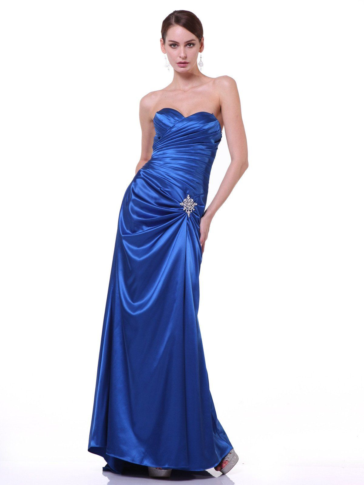 ec70e072055 Long Strapless Pleated Dress by Cinderella Divine 7749