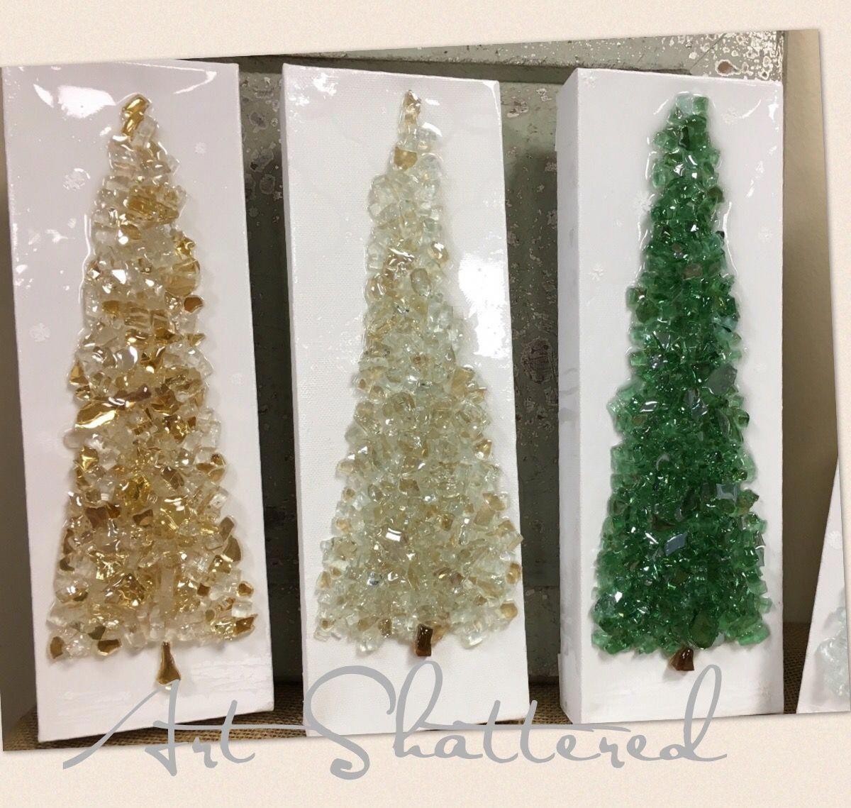 Cute Little 4x12 Glass Christmas Trees By Art Shattered Broken Glass Crafts Broken Glass Art Glass Art Techniques