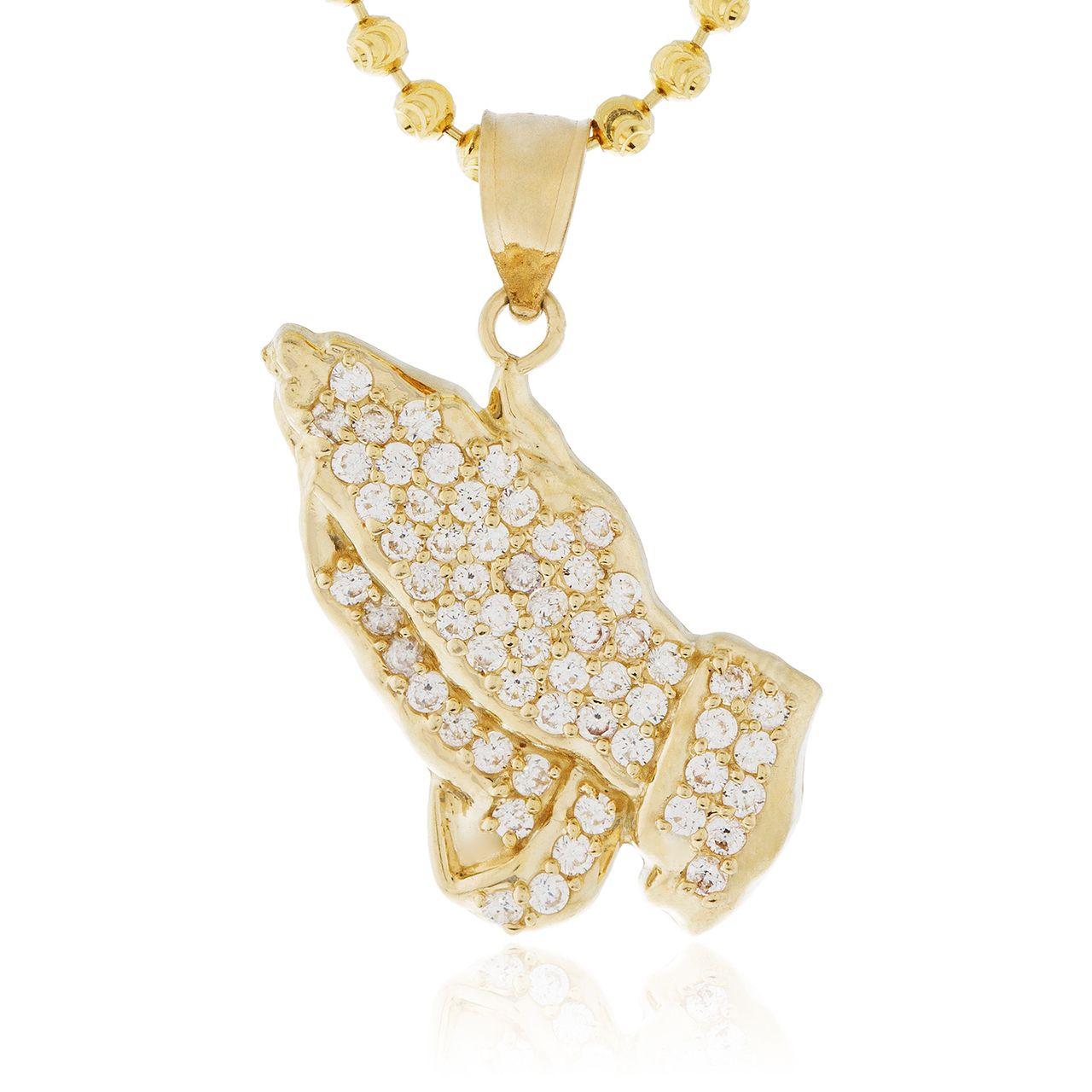 10k Yellow Gold Sapphire Micro Praying Hands Pendant Shyne Jewelers Custom Diamond Jewelry Yellow Gold Sapphire Pendant