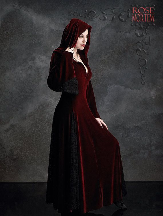Deirdre Hooded Dress Cloak in Velvet and Lace - Custom Elegant Gothic Clothing and Dark Romantic Couture