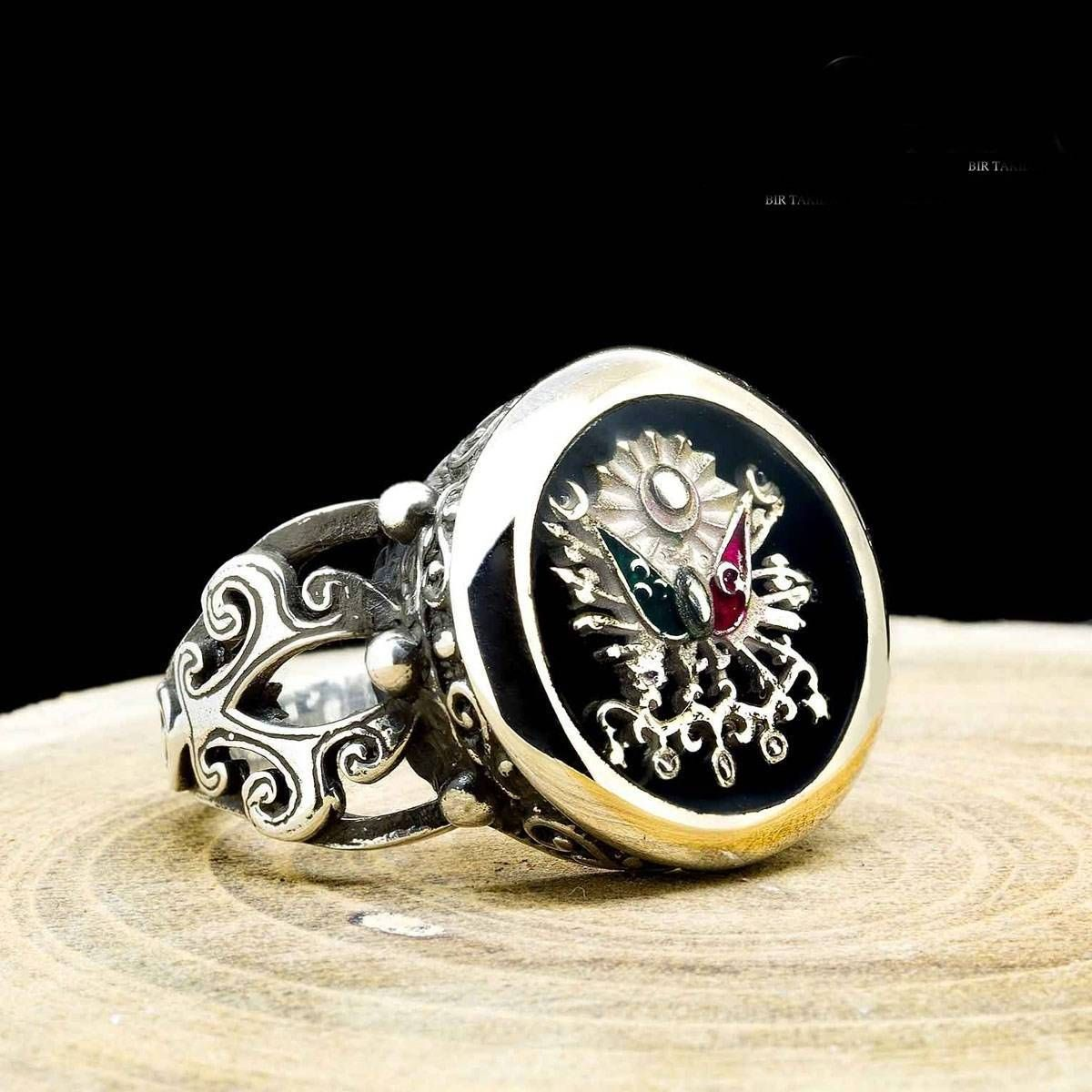 Silver Ottoman Coat of Arms Ring Sterling Silver Shiny