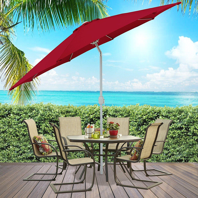 Patio Umbrella Aluminum Lightweight Garden Tilt W Crank Outdoor Tan Backyard