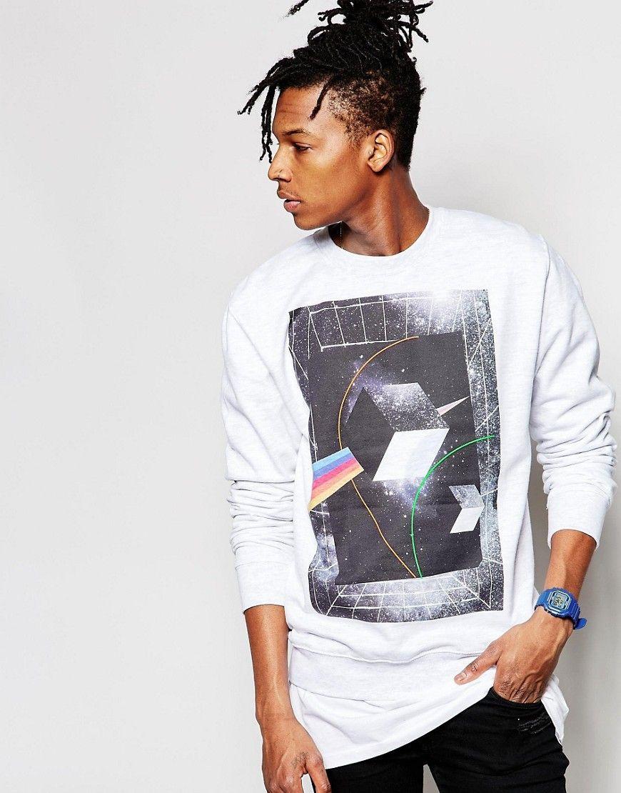 Fede New Love Club Cube Sweatshirt - Grey New Love Club Trøjer & Sweatere til Herrer til hverdag og til fest